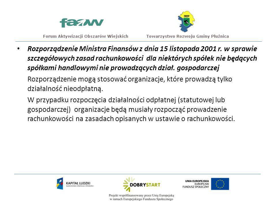 Rozporządzenie Ministra Finansów z dnia 15 listopada 2001 r.