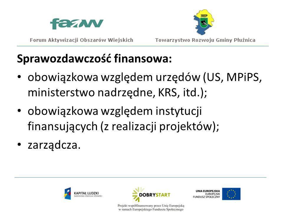 Sprawozdawczość finansowa: obowiązkowa względem urzędów (US, MPiPS, ministerstwo nadrzędne, KRS, itd.); obowiązkowa względem instytucji finansujących (z realizacji projektów); zarządcza.