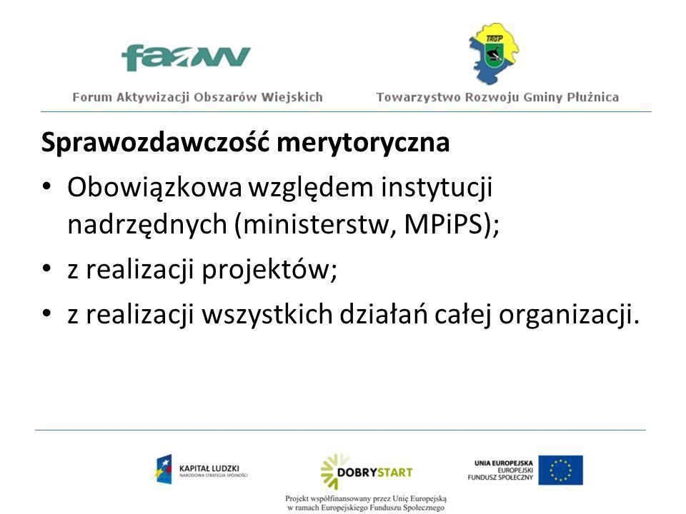 Sprawozdawczość merytoryczna Obowiązkowa względem instytucji nadrzędnych (ministerstw, MPiPS); z realizacji projektów; z realizacji wszystkich działań całej organizacji.