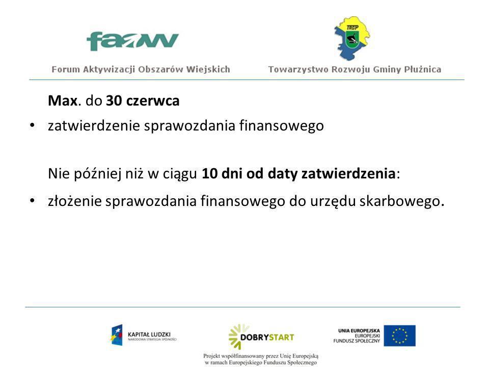 Max. do 30 czerwca zatwierdzenie sprawozdania finansowego Nie później niż w ciągu 10 dni od daty zatwierdzenia: złożenie sprawozdania finansowego do u