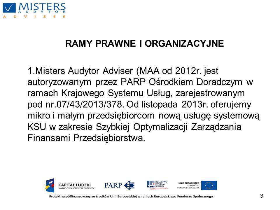 3 RAMY PRAWNE I ORGANIZACYJNE 1.Misters Audytor Adviser (MAA od 2012r.