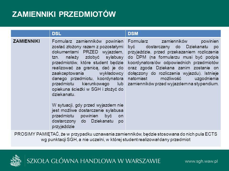 ZAMIENNIKI PRZEDMIOTÓW DSLDSM ZAMIENNIKIFormularz zamienników powinien zostać złożony razem z pozostałymi dokumentami PRZED wyjazdem, tzn. należy zdob