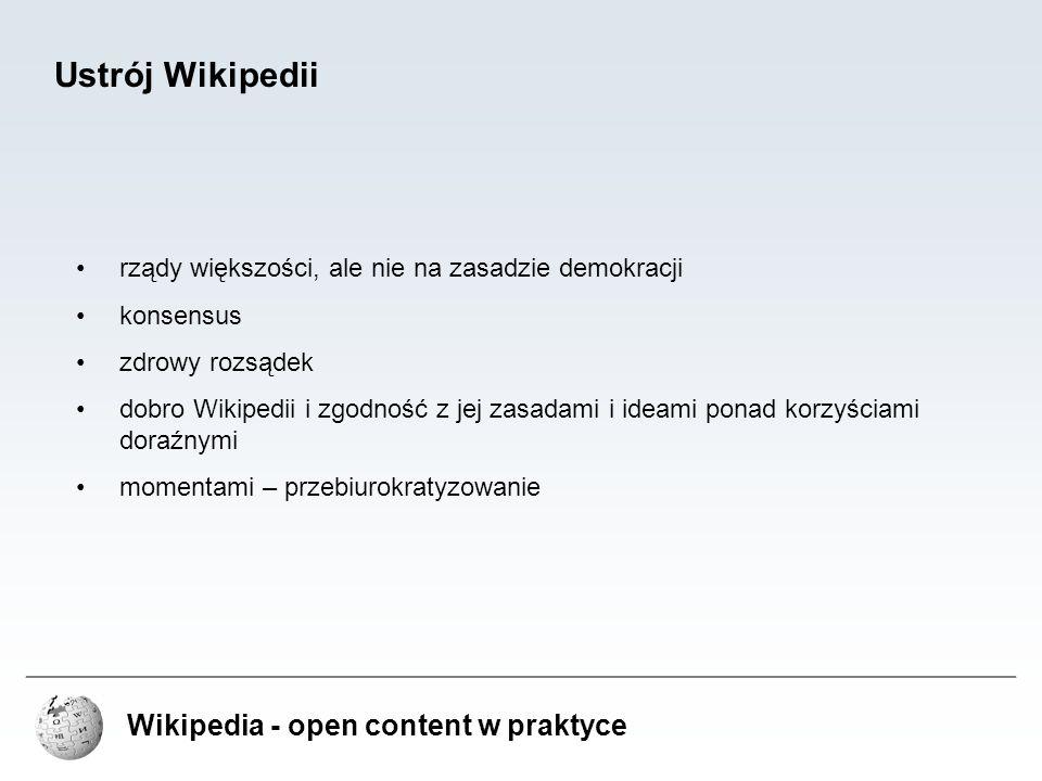 Wikipedia - open content w praktyce Ustrój Wikipedii rządy większości, ale nie na zasadzie demokracji konsensus zdrowy rozsądek dobro Wikipedii i zgod