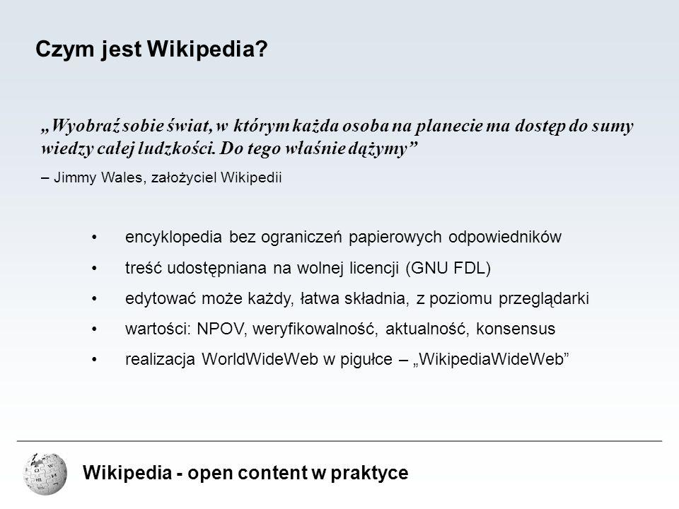 """Wikipedia - open content w praktyce Problemy Wikipedii – Encyklopedyczność treści nie wszystkie treści spełniają założenie encyklopedyczności opisywane w Wikipedii zjawiska i fakty powinny być weryfikowalne i dotyczyć szerszych społeczności problemy w jasnym zdefiniowaniu pojęcia encyklopedyczności Wikipedia wykorzystywana jest do autopromocji spamming – promocja własnych serwisów internetowych poprzez linki w artykułach rozwiązania """"Strony do usunięcia inicjatywy automatycznego znajdowania podejrzanych linków (np."""