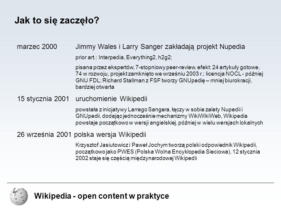 Wikipedia - open content w praktyce Dalsze kroki 20 marca 2003 powstaje Wikimedia Foundation fundacja ma na celu sprawować opiekę nad powstałymi wokół Wikipedii projektami opartymi o technologię Wiki; przekazanie praw do domen, sprzętu komputerowego i praw autorskich do nazw, logo, itp...