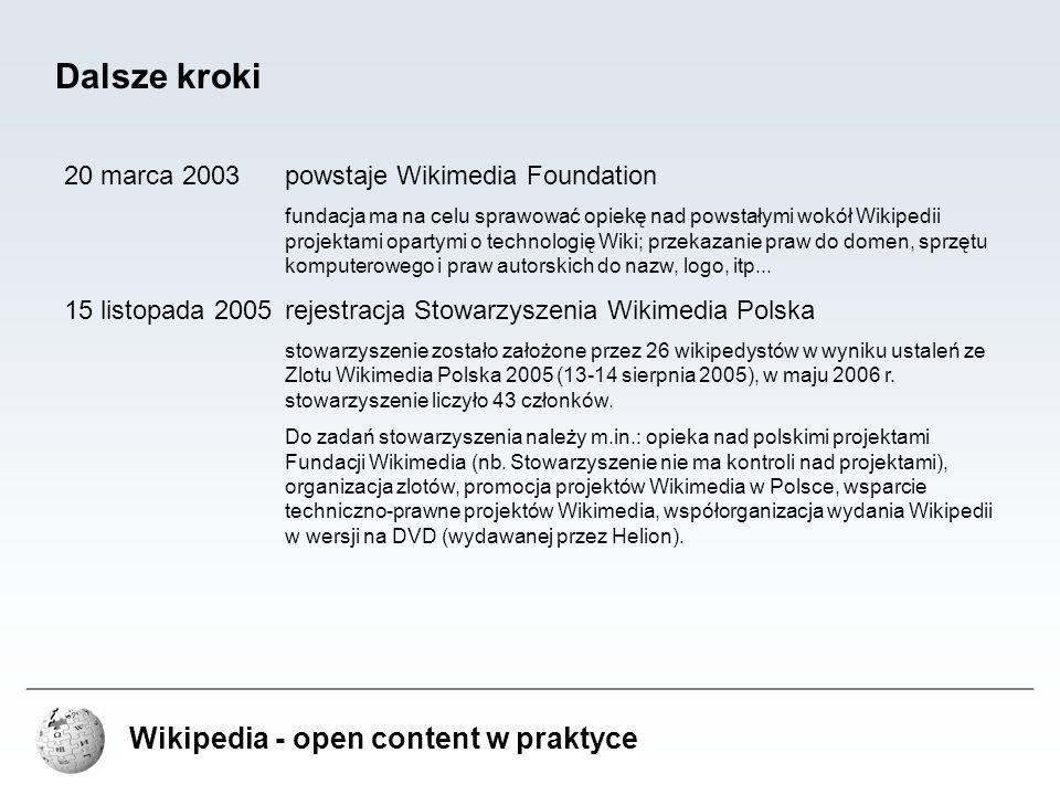 Wikipedia - open content w praktyce Kamienie milowe w rozwoju Wikipedii 12 lutego 20011000 artykułów w angielskiej Wikipedii 7 września 200110 000 artykułów w angielskiej Wikipedii 31 stycznia 20021000 artykułów w polskiej Wikipedii 21 stycznia 2003100 000 artykułów w angielskiej Wikipedii 22 maja 200310 000 artykułów w polskiej Wikipedii 20 września 2004Milion artykułów we wszystkich wersjach Wikipedii 31 grudnia 200450 000 artykułów w polskiej Wikipedii 16 września 2005100 000 artykułów w polskiej Wikipedii 26 stycznia 2006200 000 artykułów w polskiej Wikipedii 21 stycznia 2003Milion artykułów w angielskiej Wikipedii 26 września 2006300 000 artykułów w polskiej Wikipedii