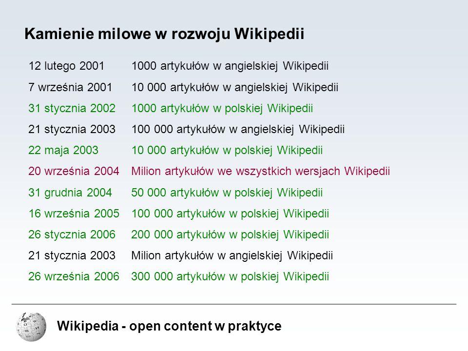 Wikipedia - open content w praktyce Kamienie milowe w rozwoju Wikipedii 12 lutego 20011000 artykułów w angielskiej Wikipedii 7 września 200110 000 art
