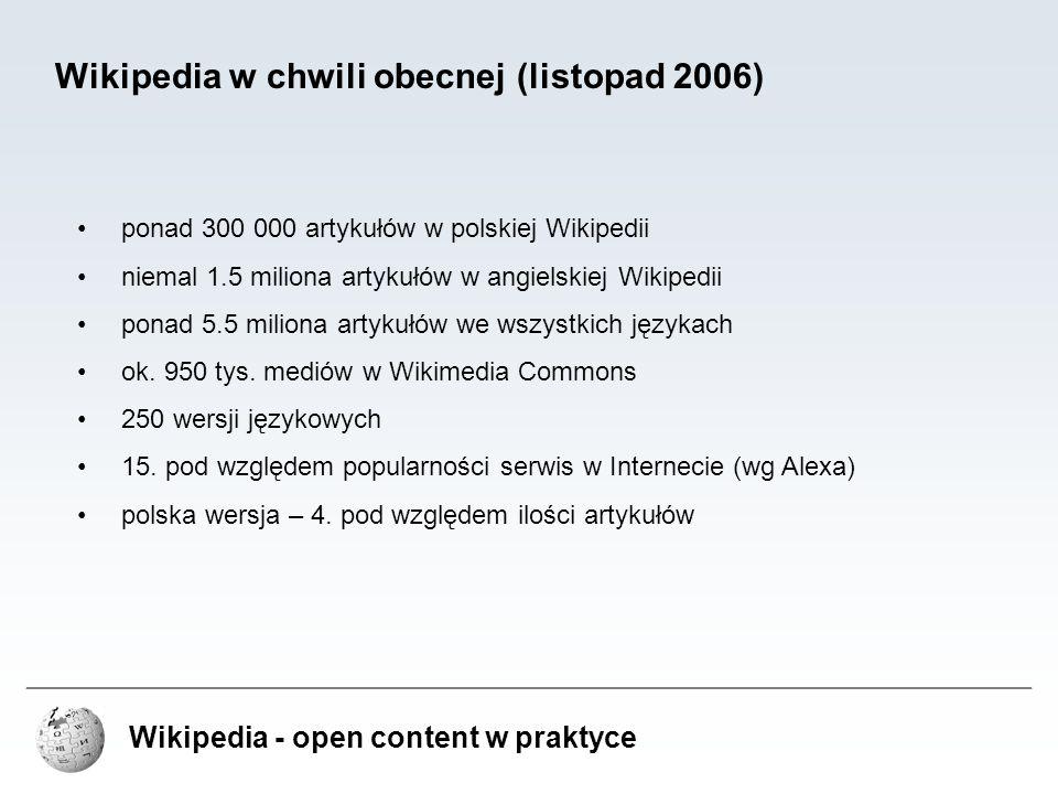 """Wikipedia - open content w praktyce Problemy Wikipedii – work-in-progress niedoskonałość Wikipedii jako źródła wiedzy wynika ze sposobu tworzenia – artykuły ewoluują od krótkich zalążków do pełnych artykułów – czasami proces trwa wiele miesięcy, bądź lat duża rozbieżność w liczbie kontrybutorów w ramach różnych działów wiedzy rozwiązania: popularyzacja Wikipedii – założenie – z liczbą kontrybutorów wzrasta liczba artykułów i jakość artykułów możliwość wyszukiwania zalążków – artykułów w początkowych stadiach tworzenia, sortowanie tematyczne zalążków, kategoryzacja artykułów inicjatywy jakościowe – """"Artykuł na medal , """"Grafika na medal , """"Ilustracja miesiąca , """"Temat miesiąca WikiFaktoria – gra quasi-RPG w ramach projektu Wikipedia, w której uczestnicy dostają punkty za różnego rodzaju prace zwiększające ilość, bądź jakość artykułów w Wikipedii w przyszłości: zamrażanie zweryfikowanych wersji artykułów (pomoże również w zwalczaniu wandalizmu, itp.)"""
