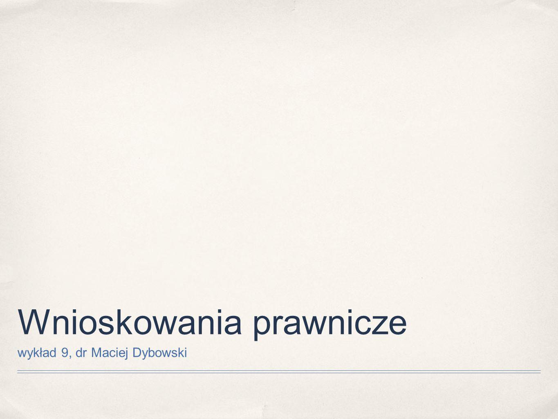 Wnioskowania prawnicze wykład 9, dr Maciej Dybowski