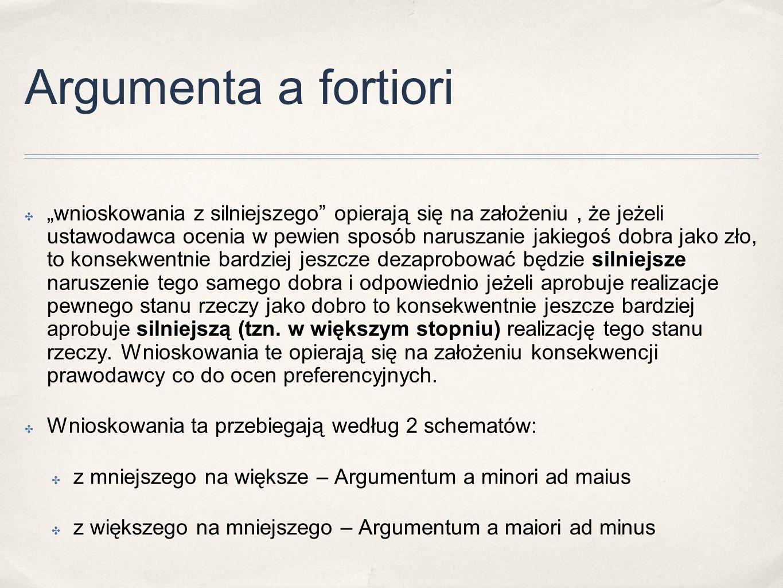 """Argumenta a fortiori ✤ """"wnioskowania z silniejszego"""" opierają się na założeniu, że jeżeli ustawodawca ocenia w pewien sposób naruszanie jakiegoś dobra"""