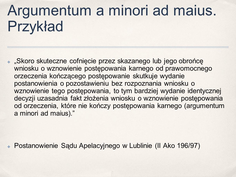 """Argumentum a minori ad maius. Przykład ✤ """"Skoro skuteczne cofnięcie przez skazanego lub jego obrońcę wniosku o wznowienie postępowania karnego od praw"""