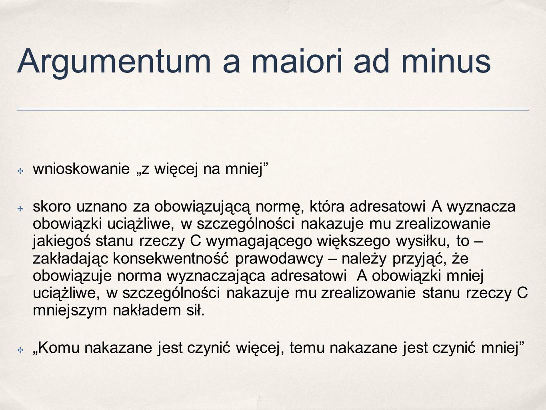 """Argumentum a maiori ad minus ✤ wnioskowanie """"z więcej na mniej"""" ✤ skoro uznano za obowiązującą normę, która adresatowi A wyznacza obowiązki uciążliwe,"""
