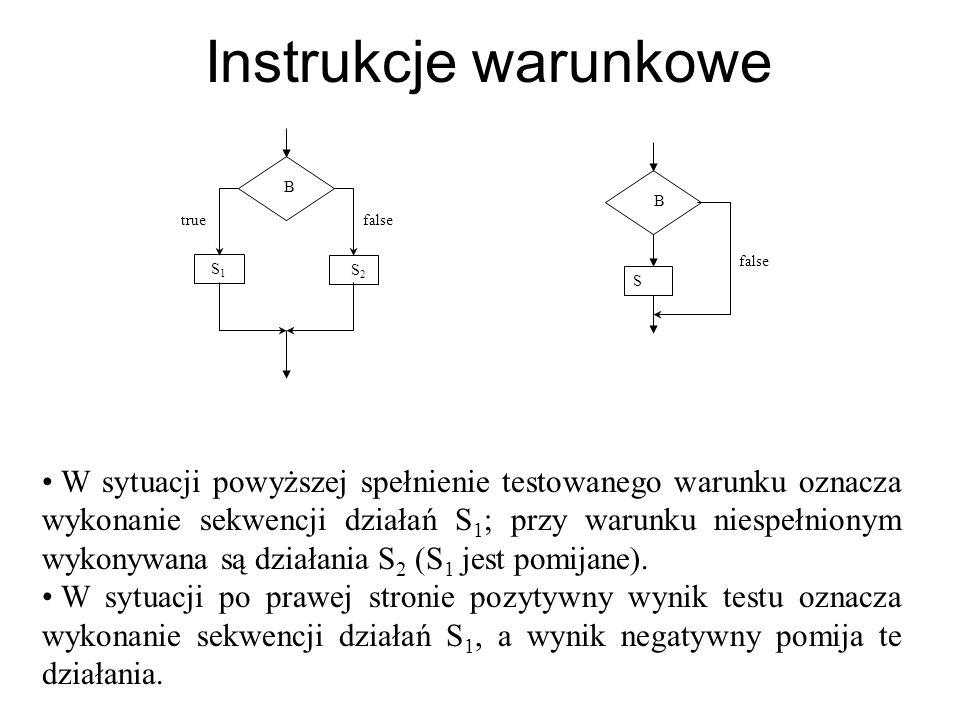 Instrukcje warunkowe W sytuacji powyższej spełnienie testowanego warunku oznacza wykonanie sekwencji działań S 1 ; przy warunku niespełnionym wykonywa