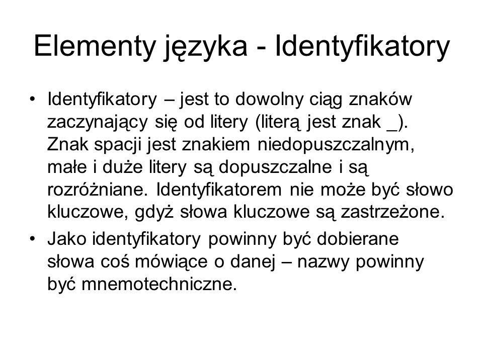 Elementy języka - Identyfikatory Identyfikatory – jest to dowolny ciąg znaków zaczynający się od litery (literą jest znak _). Znak spacji jest znakiem