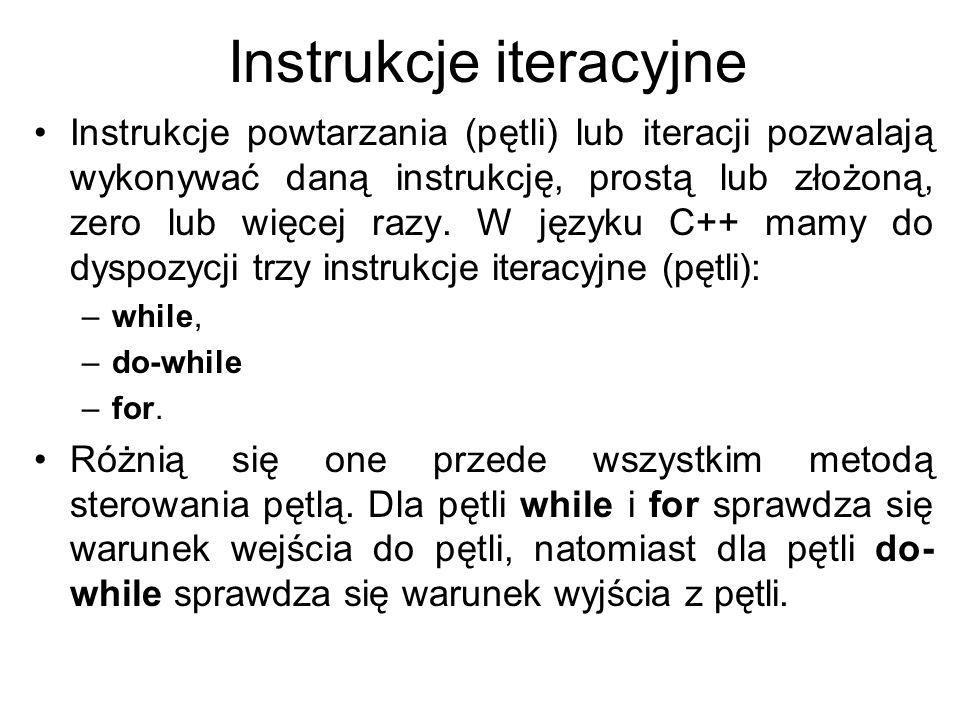 Instrukcje iteracyjne Instrukcje powtarzania (pętli) lub iteracji pozwalają wykonywać daną instrukcję, prostą lub złożoną, zero lub więcej razy. W jęz