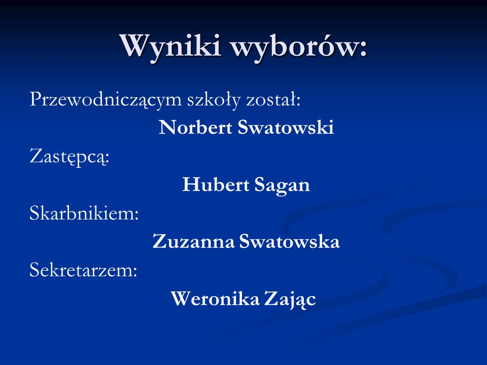 Wyniki wyborów: Przewodniczącym szkoły został: Norbert Swatowski Zastępcą: Hubert Sagan Skarbnikiem: Zuzanna Swatowska Sekretarzem: Weronika Zając