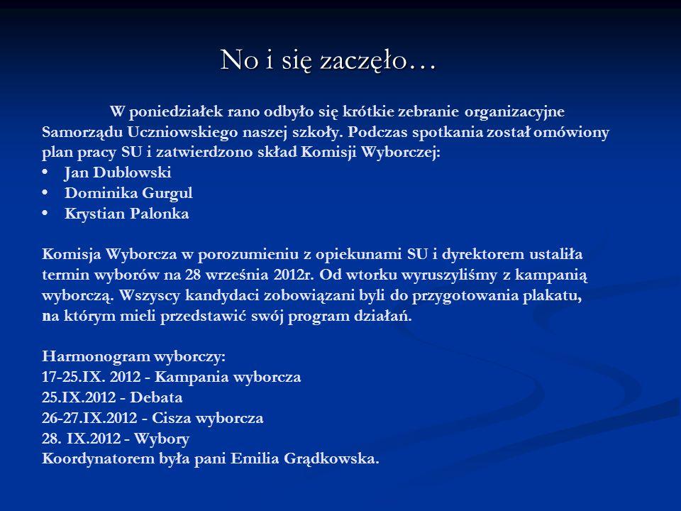 """Skład komisji wyborczej: - Jan Dublowski (kl.VI """"B ) - - Dominika Gurgul (kl."""