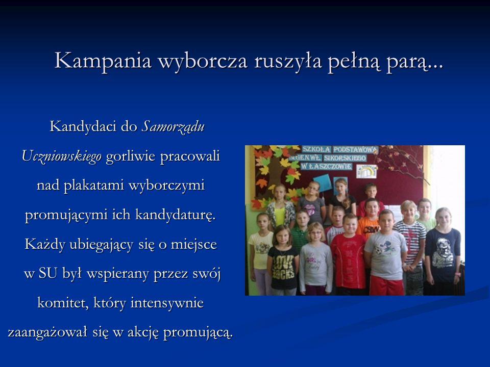 Kampania wyborcza ruszyła pełną parą... Kandydaci do Samorządu Uczniowskiego gorliwie pracowali nad plakatami wyborczymi promującymi ich kandydaturę.