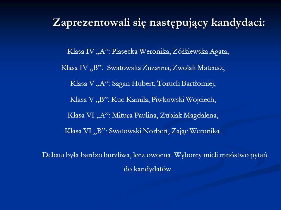 """Zaprezentowali się następujący kandydac Zaprezentowali się następujący kandydaci: Klasa IV """"A"""": Piasecka Weronika, Żółkiewska Agata, Klasa IV """"B"""": Swa"""