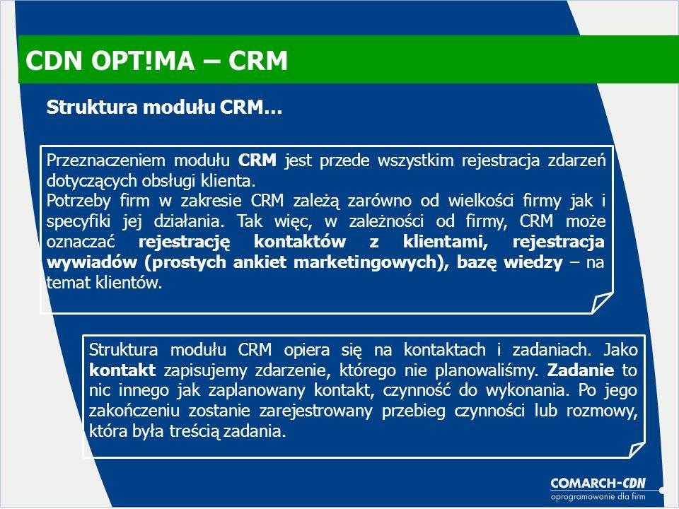 CDN OPT!MA – CRM Przeznaczeniem modułu CRM jest przede wszystkim rejestracja zdarzeń dotyczących obsługi klienta. Potrzeby firm w zakresie CRM zależą