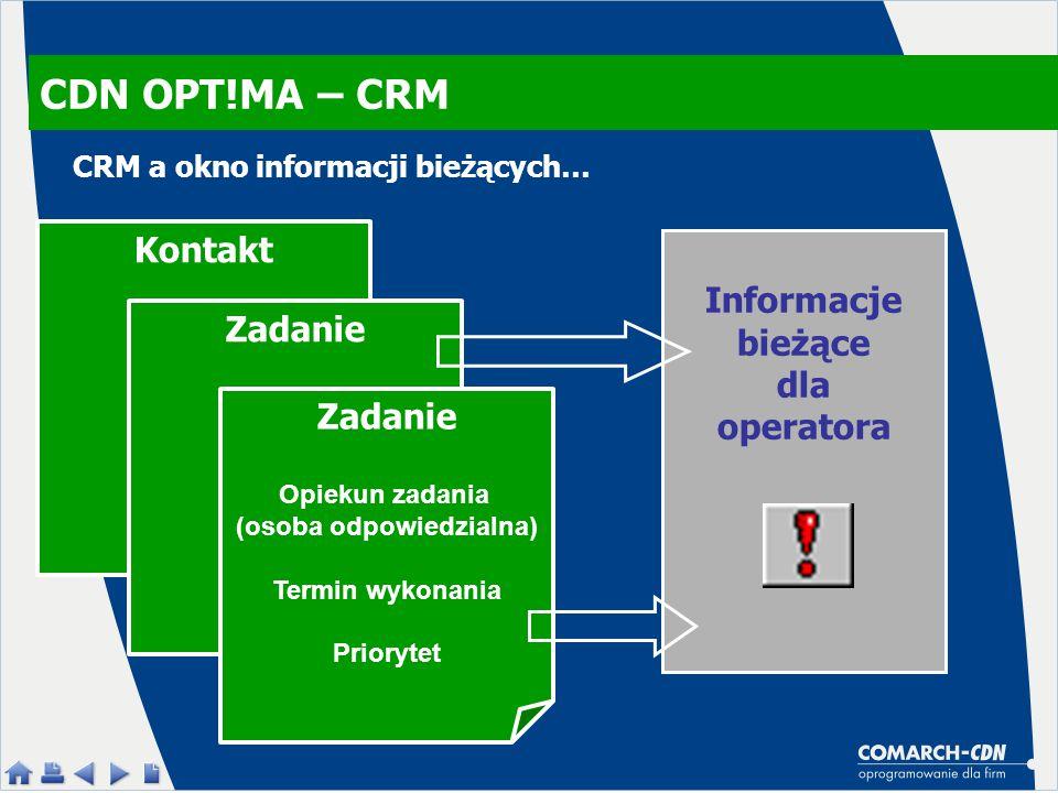 CDN OPT!MA – CRM Kontakt Zadanie Opiekun zadania (osoba odpowiedzialna) Termin wykonania Priorytet Informacje bieżące dla operatora CRM a okno informa