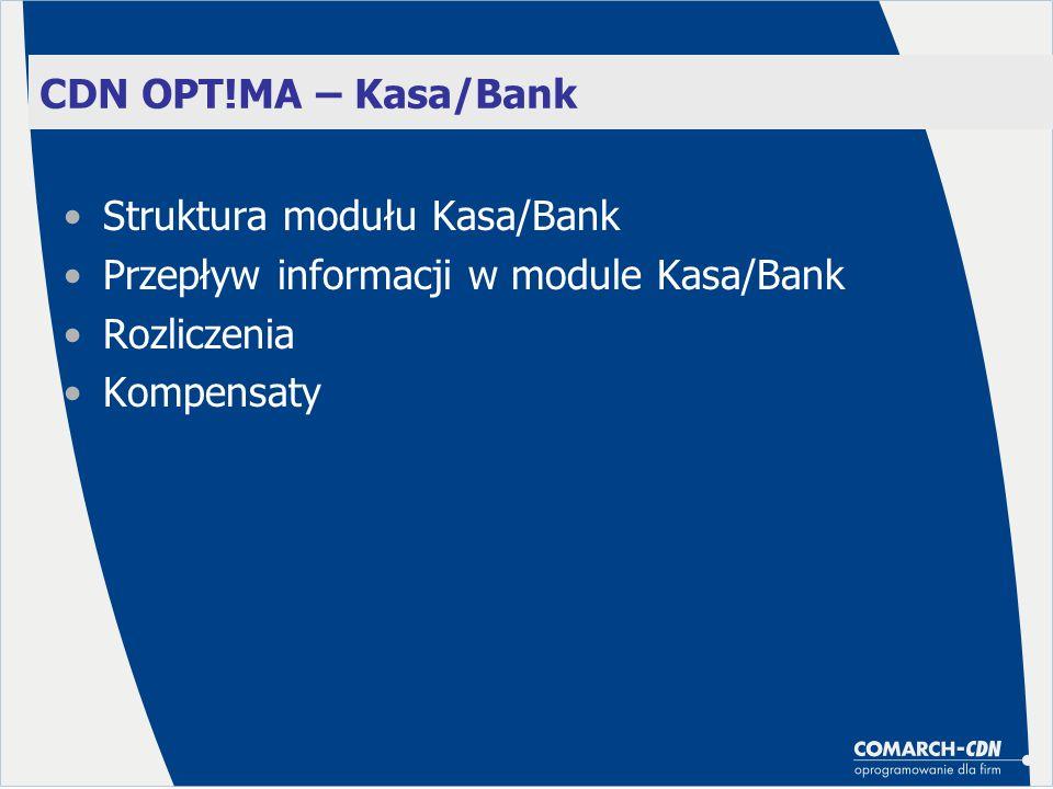 CDN OPT!MA – Kasa/Bank Struktura modułu Kasa/Bank Przepływ informacji w module Kasa/Bank Rozliczenia Kompensaty