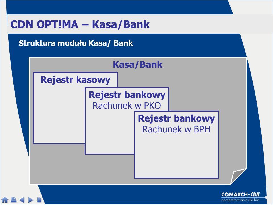 Kasa/Bank CDN OPT!MA – Kasa/Bank Rejestr kasowy Rejestr bankowy Rachunek w PKO Rejestr bankowy Rachunek w BPH Struktura modułu Kasa/ Bank