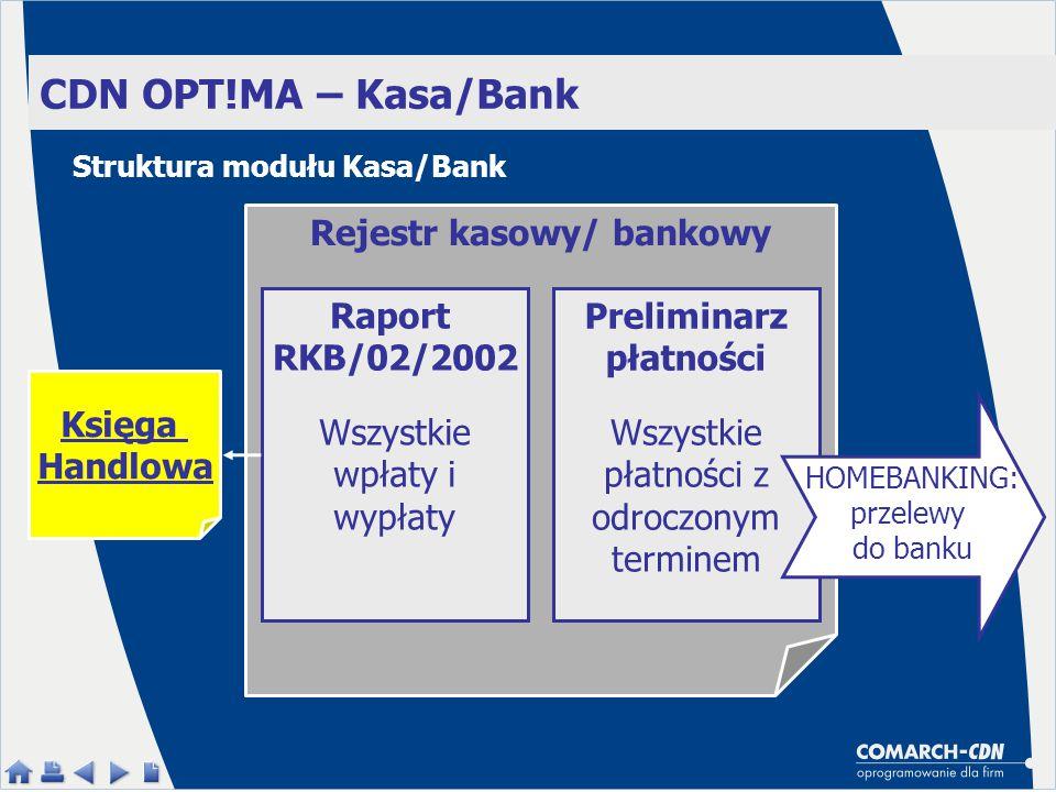 CDN OPT!MA – Kasa/Bank Rejestr kasowy/ bankowy Raport RKB/02/2002 Preliminarz płatności Wszystkie wpłaty i wypłaty Wszystkie płatności z odroczonym terminem Księga Handlowa HOMEBANKING: przelewy do banku Struktura modułu Kasa/Bank