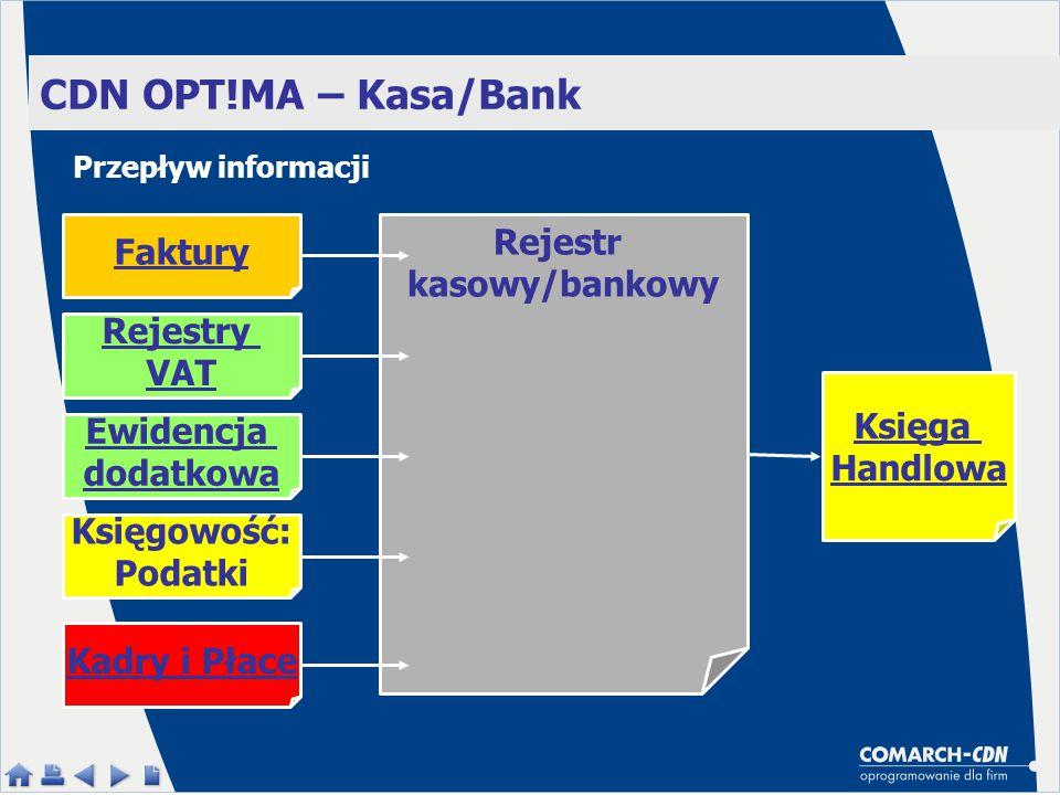 CDN OPT!MA – Kasa/Bank Rejestr kasowy/bankowy Faktury Ewidencja dodatkowa Księgowość: Podatki Kadry i Płace Rejestry VAT Przepływ informacji Księga Ha