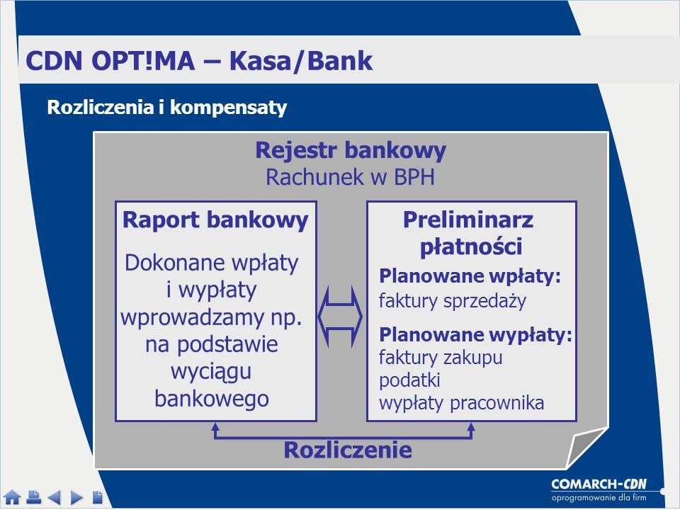 CDN OPT!MA – Kasa/Bank Rejestr bankowy Rachunek w BPH Preliminarz płatności Planowane wpłaty: faktury sprzedaży Planowane wypłaty: faktury zakupu podatki wypłaty pracownika Raport bankowy Dokonane wpłaty i wypłaty wprowadzamy np.