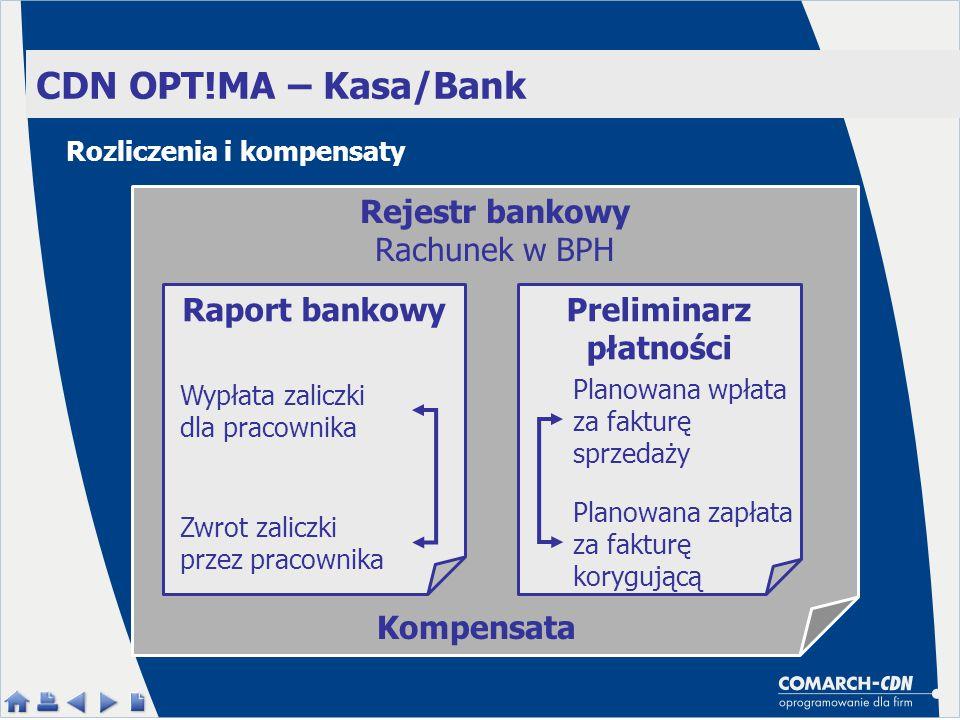 CDN OPT!MA – Kasa/Bank Rejestr bankowy Rachunek w BPH Preliminarz płatności Raport bankowy Planowana wpłata za fakturę sprzedaży Planowana zapłata za fakturę korygującą Wypłata zaliczki dla pracownika Zwrot zaliczki przez pracownika Kompensata Rozliczenia i kompensaty