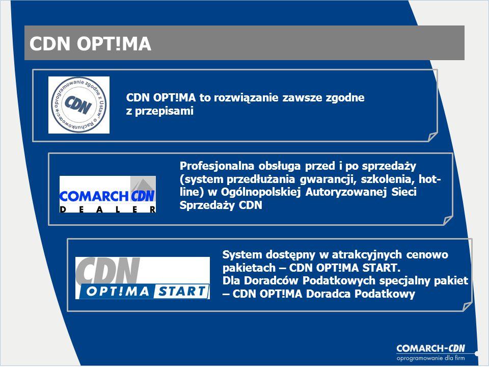 CDN OPT!MA CDN OPT!MA to rozwiązanie zawsze zgodne z przepisami Profesjonalna obsługa przed i po sprzedaży (system przedłużania gwarancji, szkolenia,