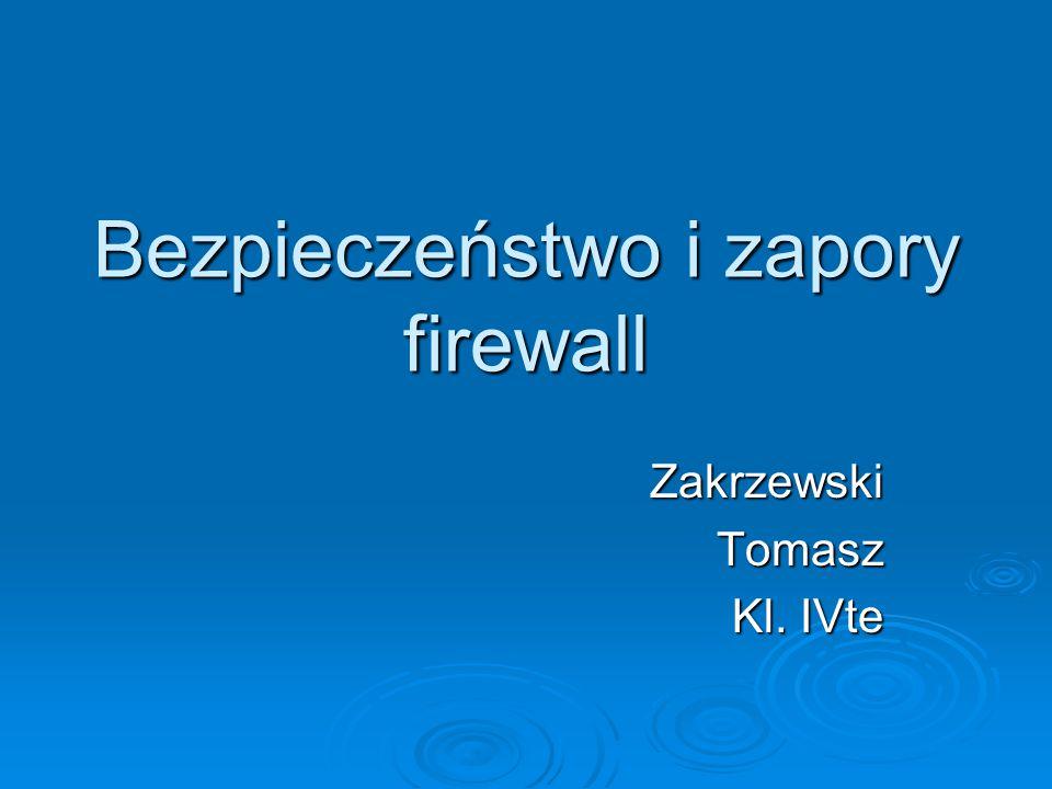 Wnioski  Zapory firewall stały się podstawowym elementem infrastruktury bezpieczeństwa sieci ze względu na ich zdolność do blokowania ataków na poziomie sieci.