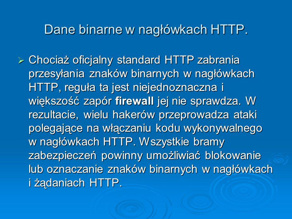 Dane binarne w nagłówkach HTTP.  Chociaż oficjalny standard HTTP zabrania przesyłania znaków binarnych w nagłówkach HTTP, reguła ta jest niejednoznac