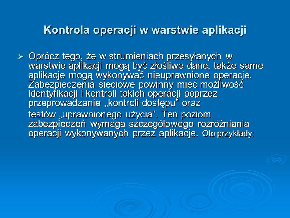 Kontrola operacji w warstwie aplikacji  Oprócz tego, że w strumieniach przesyłanych w warstwie aplikacji mogą być złośliwe dane, także same aplikacje
