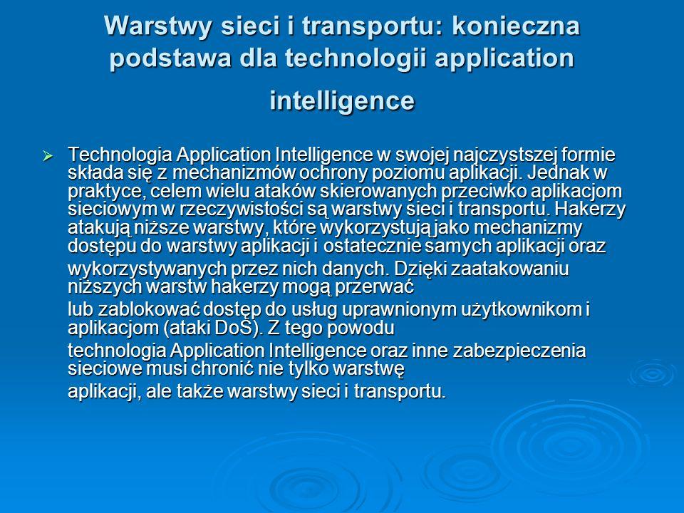 Warstwy sieci i transportu: konieczna podstawa dla technologii application intelligence  Technologia Application Intelligence w swojej najczystszej f