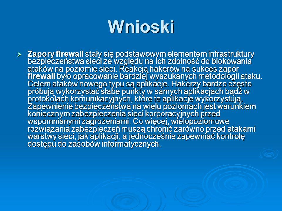 Wnioski  Zapory firewall stały się podstawowym elementem infrastruktury bezpieczeństwa sieci ze względu na ich zdolność do blokowania ataków na pozio