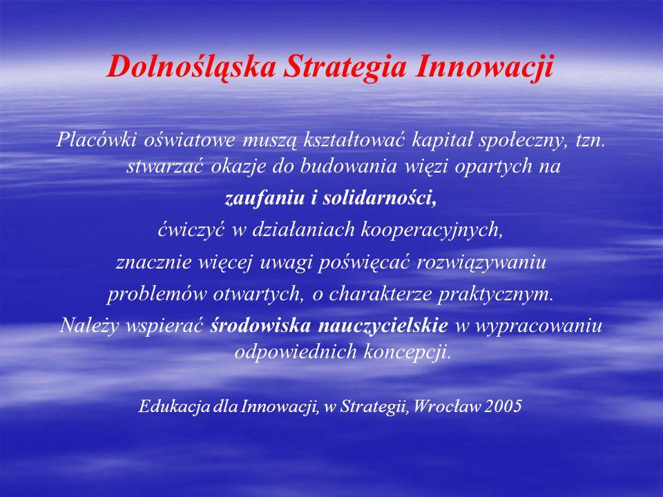 Dolnośląska Strategia Innowacji Przyszłość innowacyjna Dolnego Śląska zależy w pierwszym rzędzie od tego, czy regionalny system edukacji wykształci innowatorów.