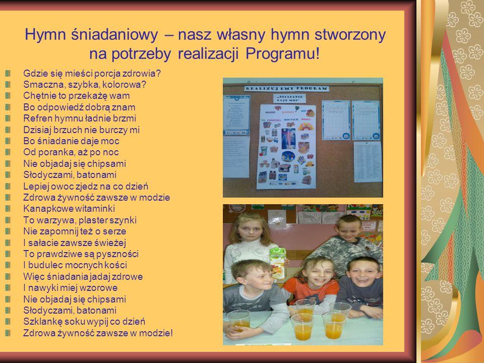 Hymn śniadaniowy – nasz własny hymn stworzony na potrzeby realizacji Programu! Gdzie się mieści porcja zdrowia? Smaczna, szybka, kolorowa? Chętnie to