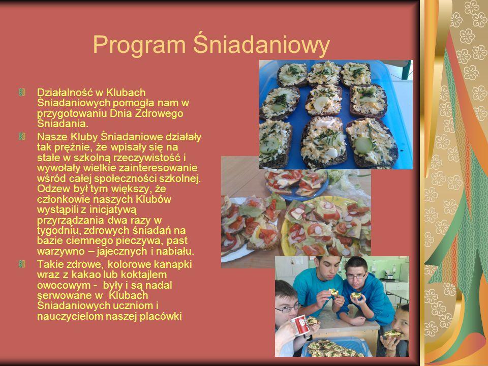Program Śniadaniowy Działalność w Klubach Śniadaniowych pomogła nam w przygotowaniu Dnia Zdrowego Śniadania. Nasze Kluby Śniadaniowe działały tak pręż