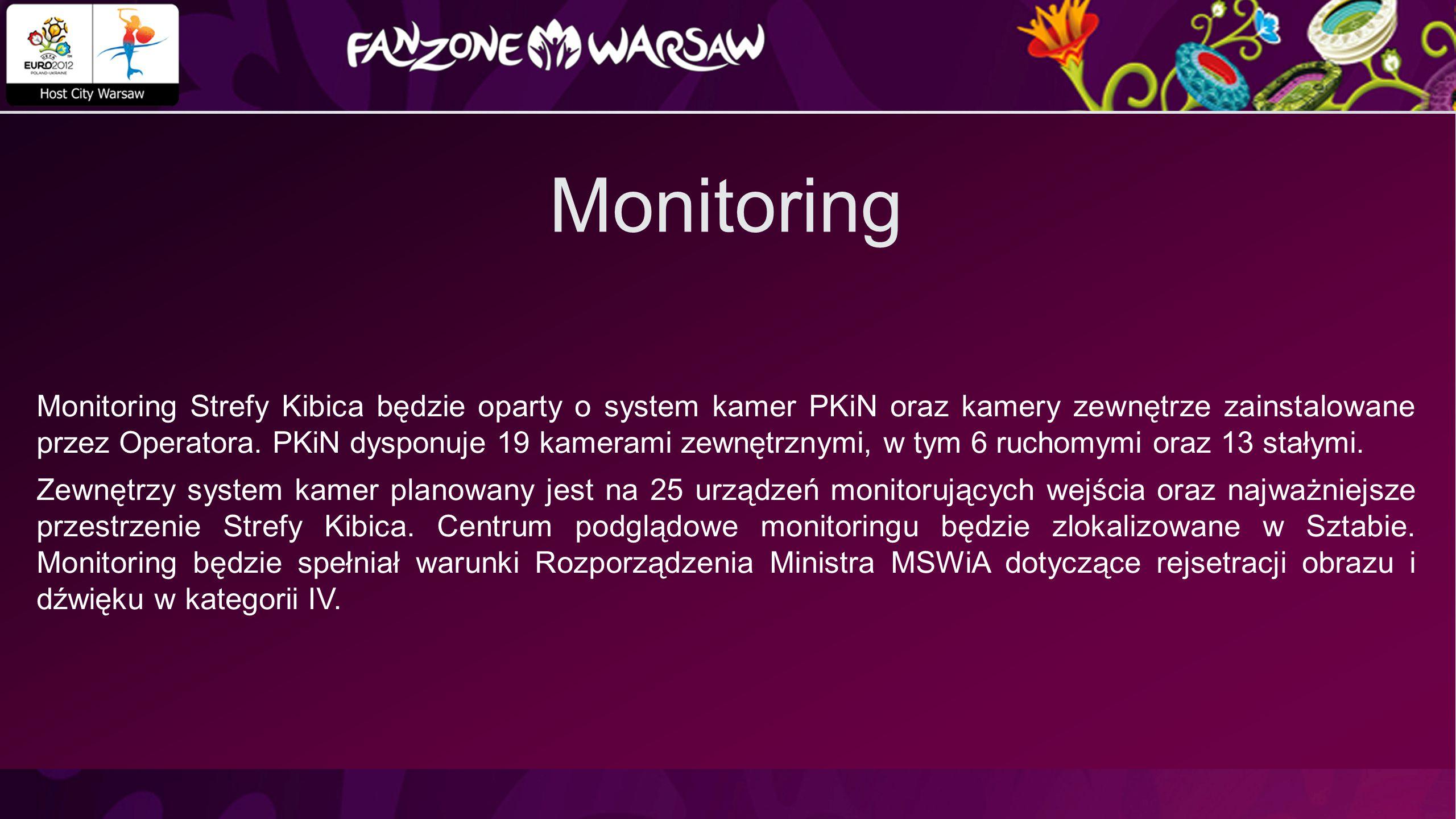 Monitoring Monitoring Strefy Kibica będzie oparty o system kamer PKiN oraz kamery zewnętrze zainstalowane przez Operatora.
