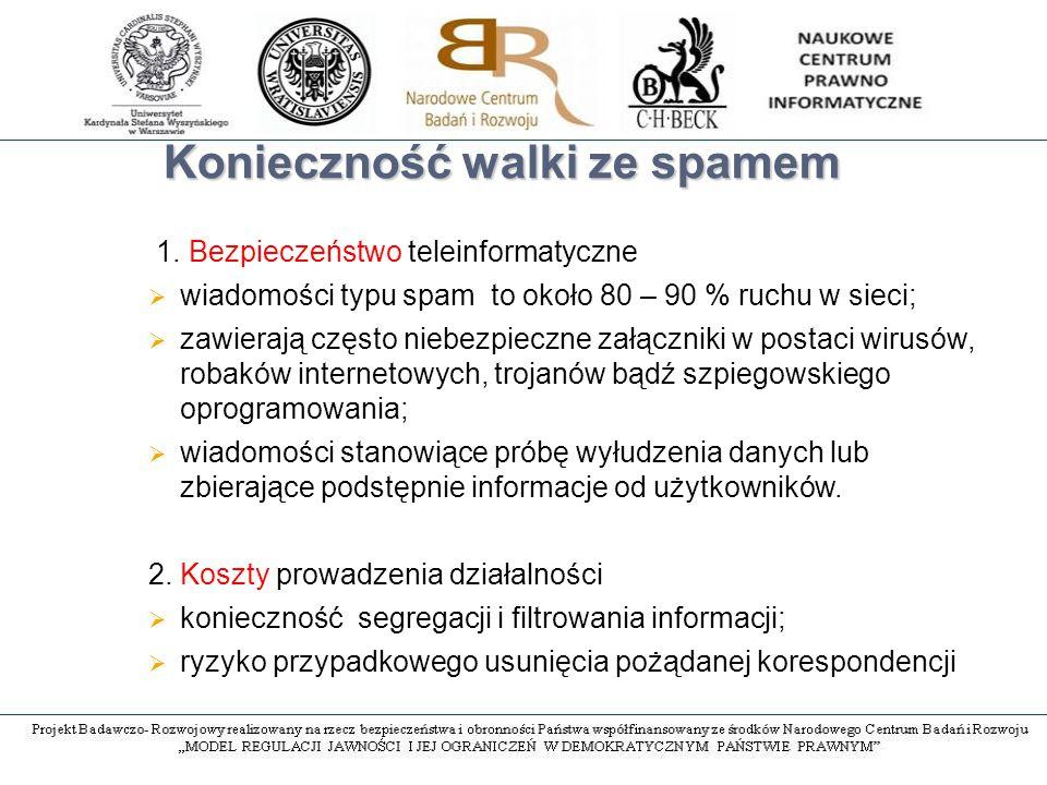 W poszukiwaniu definicji prawnej Brak definicji normatywnej Zakaz przesyłania niezamówionych komunikatów handlowych  Ustawa o świadczeniu usług drogą elektroniczną  Ustawa o przeciwdziałaniu nieuczciwym praktykom rynkowym (agresywna praktyka rynkowa skierowana na konsumenta)  Ustawa Prawo telekomunikacyjne (natarczywy marketing bezpośredni) Zakazane jest przesyłanie niezamówionej informacji handlowej skierowanej do oznaczonego odbiorcy będącego osobą fizyczną za pomocą środków komunikacji elektronicznej, w szczególności poczty elektronicznej.