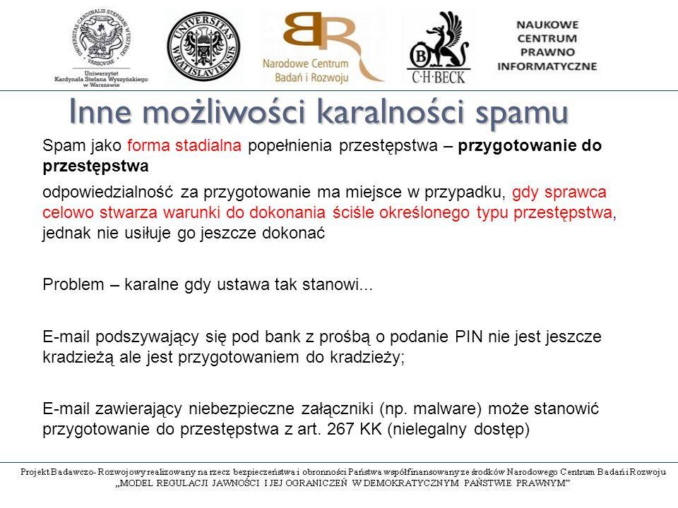 Inne możliwości karalności spamu Spam jako forma stadialna popełnienia przestępstwa – przygotowanie do przestępstwa odpowiedzialność za przygotowanie ma miejsce w przypadku, gdy sprawca celowo stwarza warunki do dokonania ściśle określonego typu przestępstwa, jednak nie usiłuje go jeszcze dokonać Problem – karalne gdy ustawa tak stanowi...