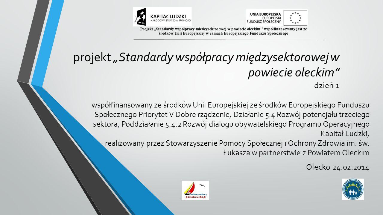 """projekt """"Standardy współpracy międzysektorowej w powiecie oleckim dzień 1 współfinansowany ze środków Unii Europejskiej ze środków Europejskiego Funduszu Społecznego Priorytet V Dobre rządzenie, Działanie 5.4 Rozwój potencjału trzeciego sektora, Poddziałanie 5.4.2 Rozwój dialogu obywatelskiego Programu Operacyjnego Kapitał Ludzki, realizowany przez Stowarzyszenie Pomocy Społecznej i Ochrony Zdrowia im."""