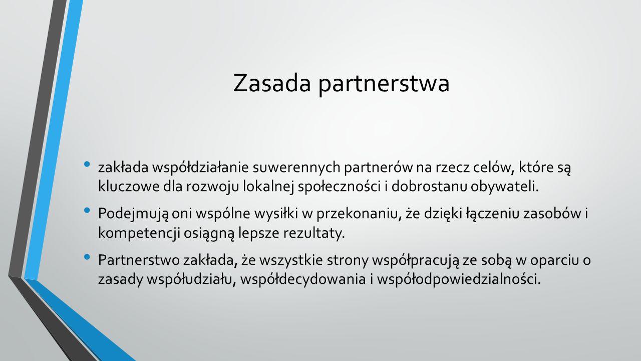 Zasada partnerstwa zakłada współdziałanie suwerennych partnerów na rzecz celów, które są kluczowe dla rozwoju lokalnej społeczności i dobrostanu obywateli.