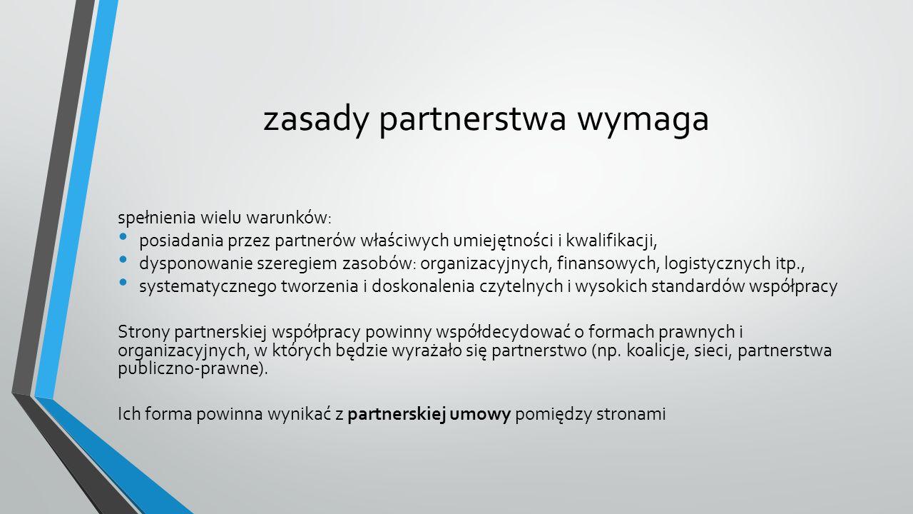 zasady partnerstwa wymaga spełnienia wielu warunków: posiadania przez partnerów właściwych umiejętności i kwalifikacji, dysponowanie szeregiem zasobów: organizacyjnych, finansowych, logistycznych itp., systematycznego tworzenia i doskonalenia czytelnych i wysokich standardów współpracy Strony partnerskiej współpracy powinny współdecydować o formach prawnych i organizacyjnych, w których będzie wyrażało się partnerstwo (np.