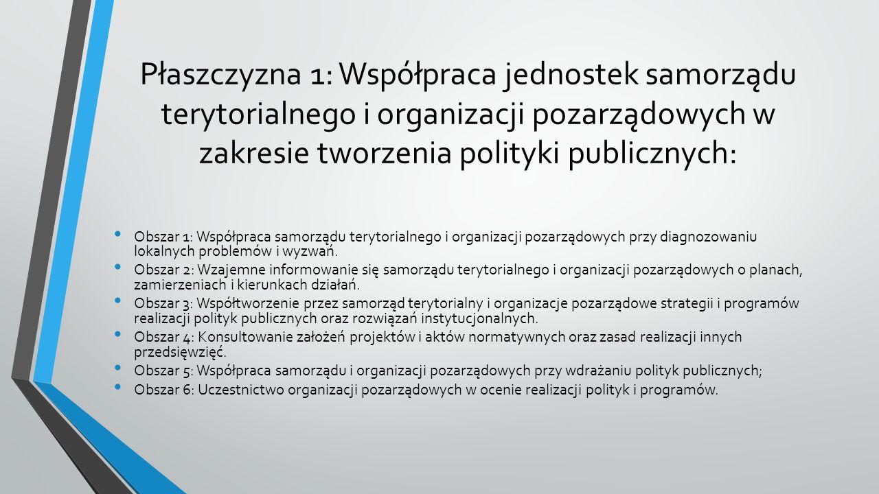 Płaszczyzna 1: Współpraca jednostek samorządu terytorialnego i organizacji pozarządowych w zakresie tworzenia polityki publicznych: Obszar 1: Współpraca samorządu terytorialnego i organizacji pozarządowych przy diagnozowaniu lokalnych problemów i wyzwań.