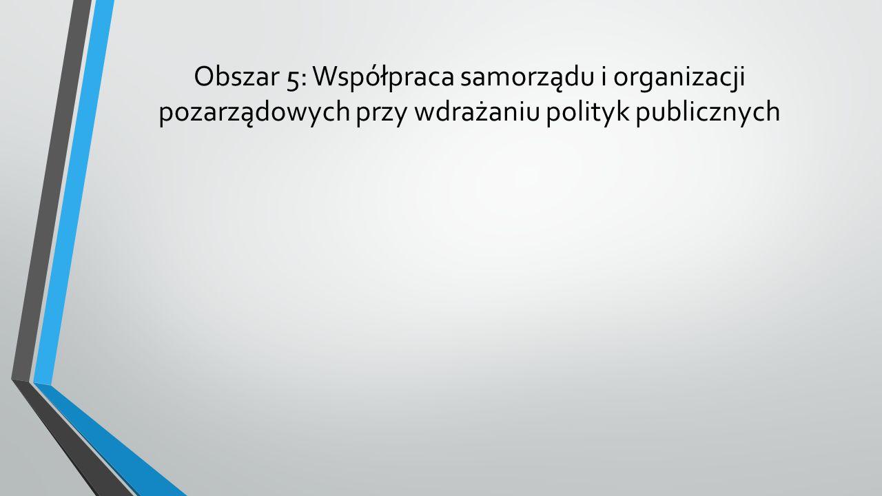 Obszar 5: Współpraca samorządu i organizacji pozarządowych przy wdrażaniu polityk publicznych