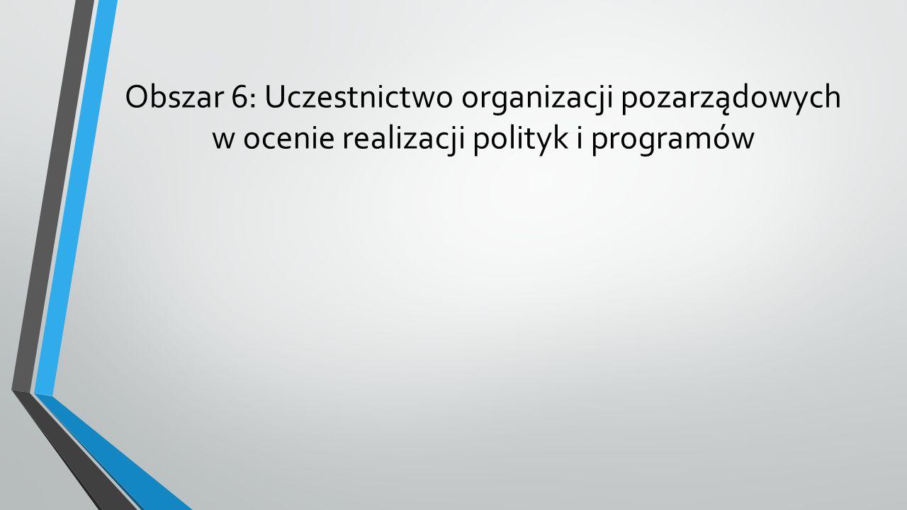 Obszar 6: Uczestnictwo organizacji pozarządowych w ocenie realizacji polityk i programów