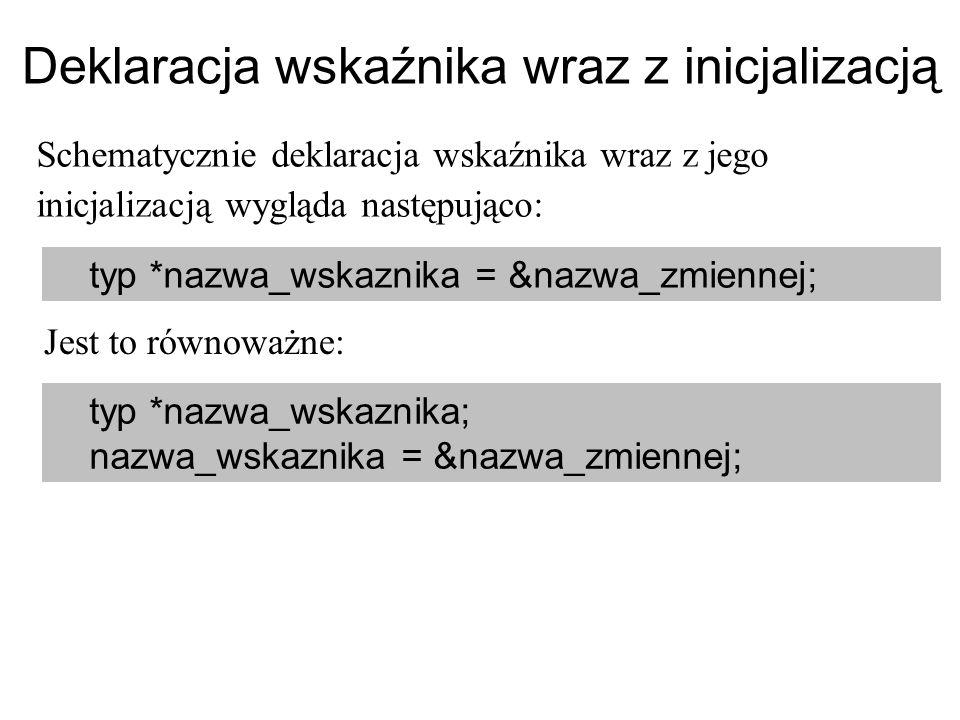 Deklaracja wskaźnika wraz z inicjalizacją Schematycznie deklaracja wskaźnika wraz z jego inicjalizacją wygląda następująco: typ *nazwa_wskaznika = &na